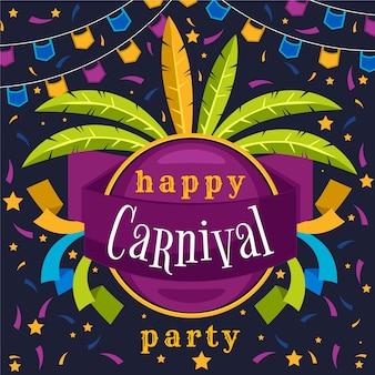Ilustração de carnaval design plano com letras