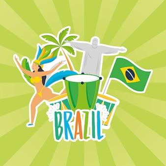 Ilustração de carnaval do brasil com corcovade christ