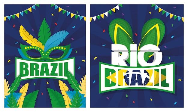 Ilustração de carnaval do brasil conjunto com máscara e sandálias