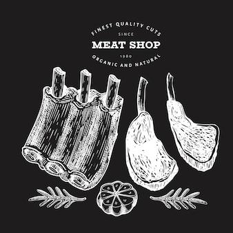Ilustração de carne retrô vector no quadro de giz