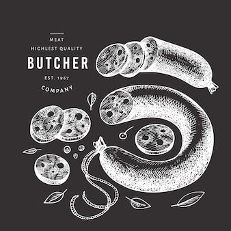 Ilustração de carne vintage no quadro de giz.