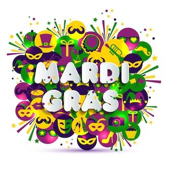 Ilustração de carnival mardi gras em ícones multicoloridos de aquarela