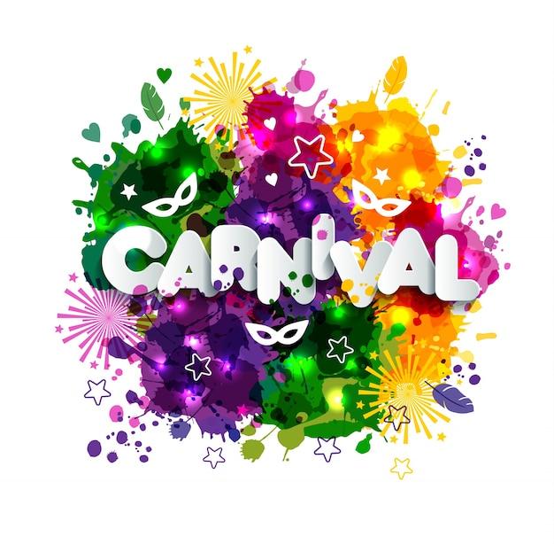 Ilustração de carnival mardi gras em manchas de aguarela