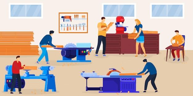 Ilustração de carpintaria de pessoas. grupo de personagens de carpinteiro plano de desenho animado serrando pranchas de madeira, trabalhando com ferramentas de equipamento de serra circular no interior da sala da oficina, cortando fundo de madeira
