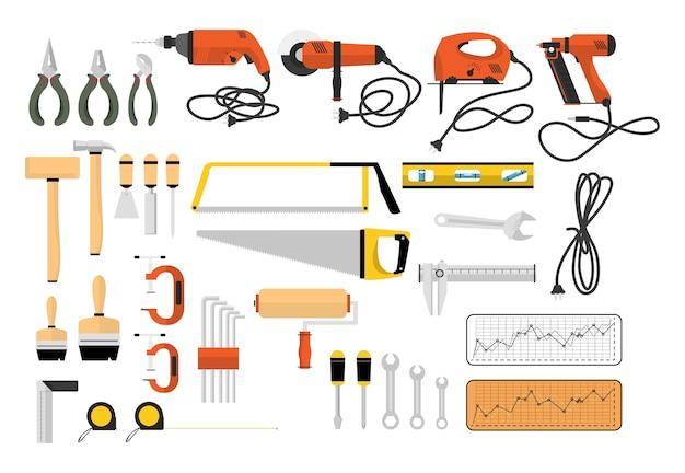 Ilustração, de, carpinteiro, ferramentas