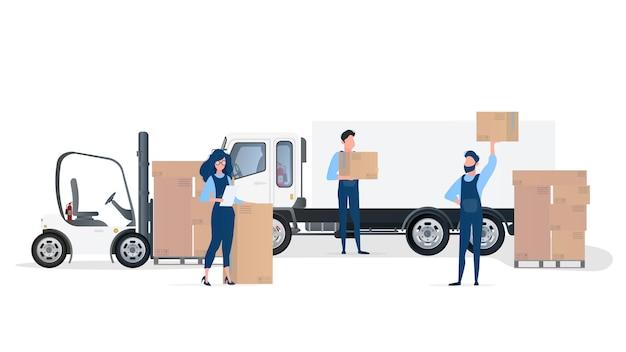 Ilustração de carregamento de carga para o carro