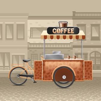 Ilustração de carrinho de café de rua