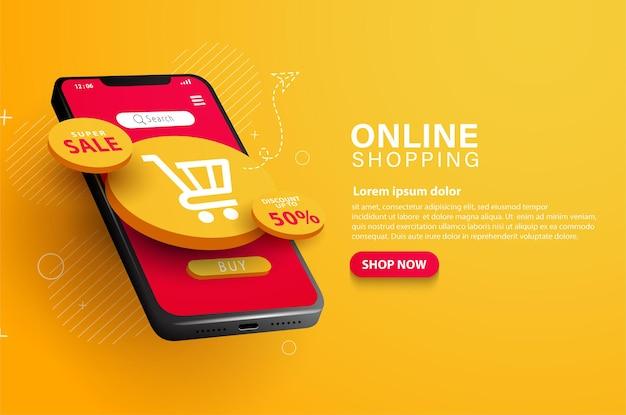 Ilustração de carrinho de compras online e promoção de vendas