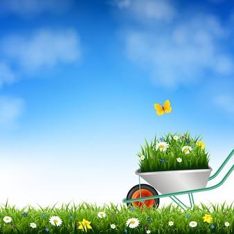 Ilustração de carrinho de mão e grama de jardim