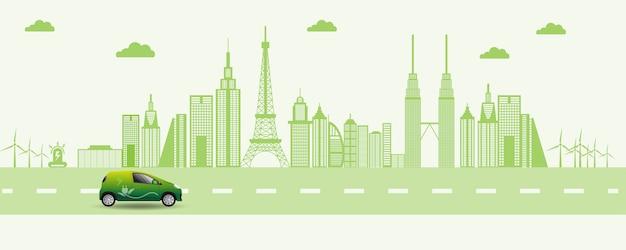 Ilustração de carro amigável de eco