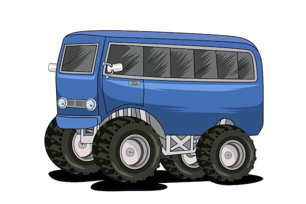 Ilustração de carro clássico ônibus monstro desenho à mão