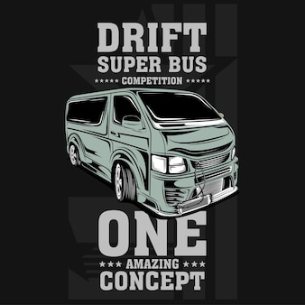 Ilustração de carro com motor rápido drift super bus