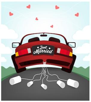 Ilustração de carro de casamento bonito