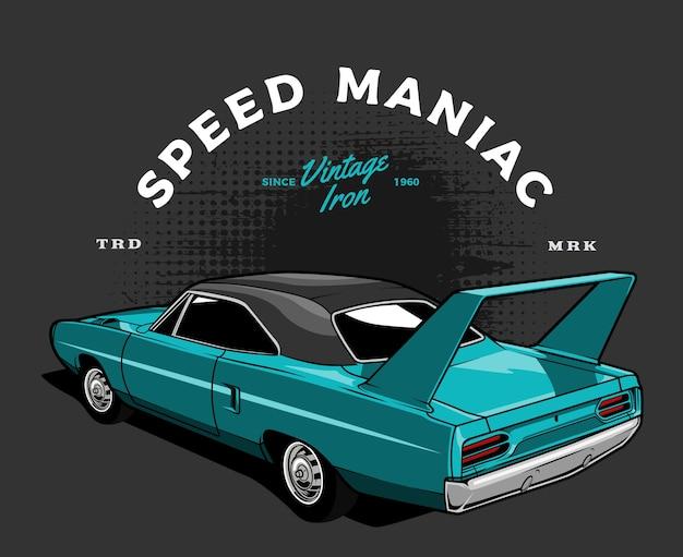 Ilustração de carro de corrida vintage azul