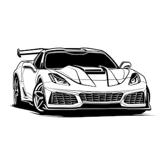 Ilustração de carro em preto e branco para design conceitual