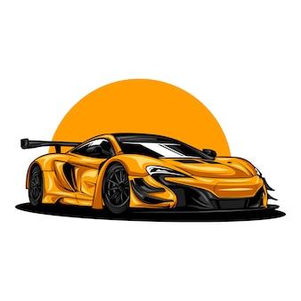 Ilustração de carro esporte moderno em cor sólida