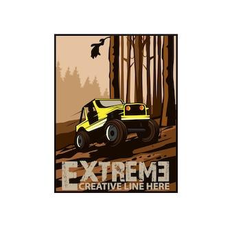 Ilustração de carro jipe selvagem