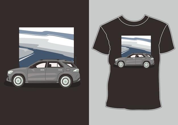 Ilustração de carro para design de camiseta