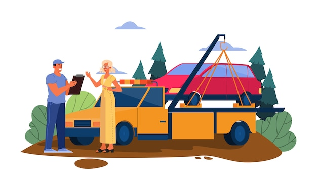 Ilustração de carro quebrado em uma estrada. mulher obter