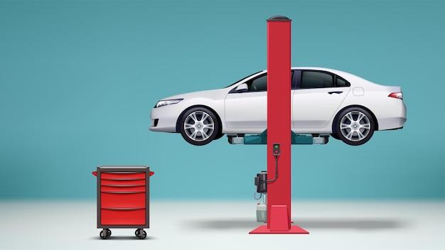 Ilustração de carro realístico de cor branca elevada na estação de serviço com armário de ferramentas