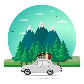 Ilustração de carro viajando