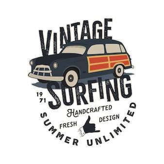 Ilustração de carro vintage desenhada à mão