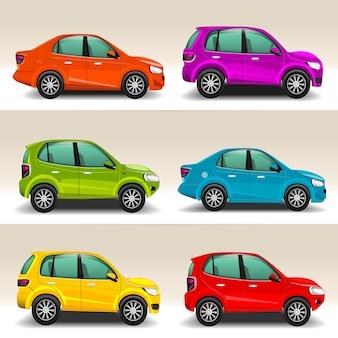 Ilustração de carros coloridos dos desenhos animados