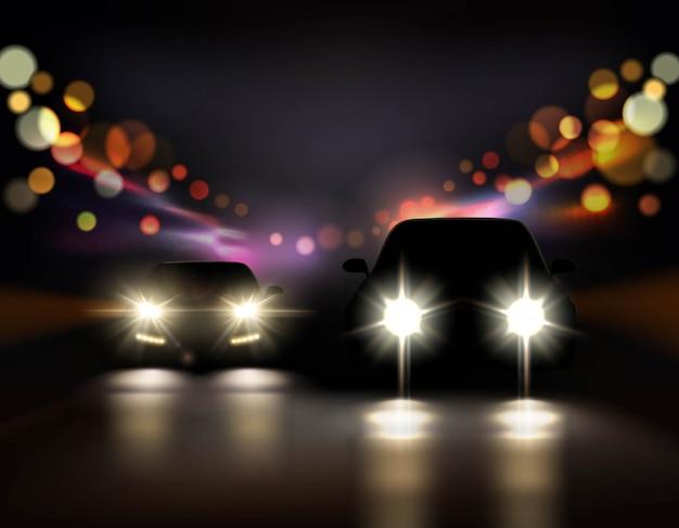Ilustração de carros de passeio à noite