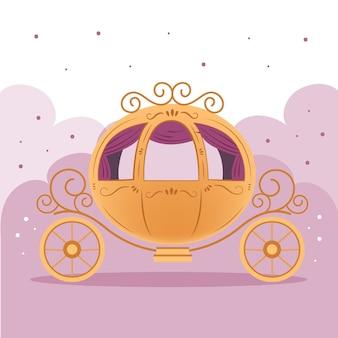 Ilustração de carruagem de conto de fadas