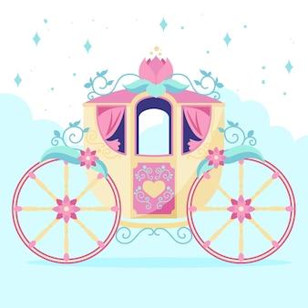 Ilustração de carruagem mágica de conto de fadas