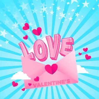 Ilustração de carta de amor dos namorados