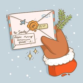 Ilustração de carta de cartão de natal para o papai noel