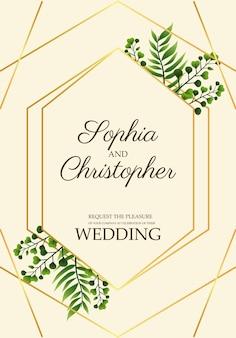 Ilustração de cartão de convite de casamento com folhas em moldura dourada
