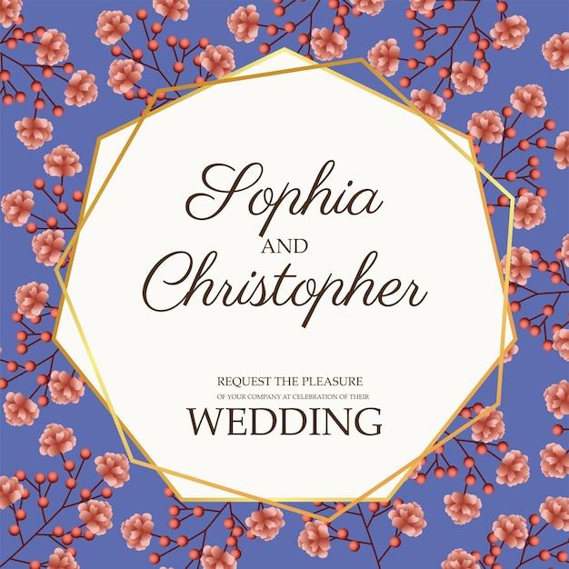Ilustração de cartão de convite de casamento com moldura dourada e flores rosa
