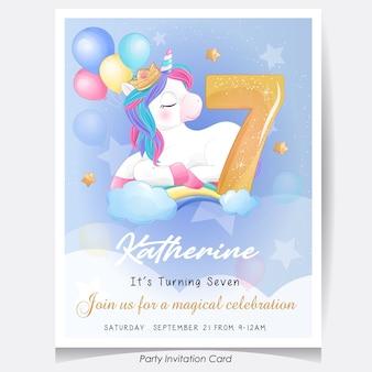 Ilustração de cartão de convite de festa de aniversário de unicórnio fofo