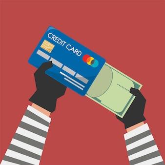 Ilustração de cartão de crédito com cibercrime