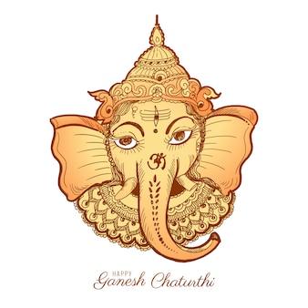 Ilustração de cartão de desenho feliz ganesh chaturthi