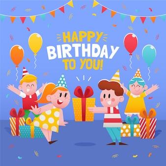 Ilustração de cartão de feliz aniversário