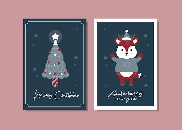 Ilustração de cartão de natal de rena