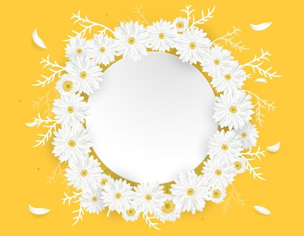 Ilustração de cartão floral com coroa de flores de margarida e lugar para texto