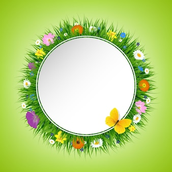 Ilustração de cartão postal de grama e flores