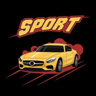 Ilustração de cartaz de carro esportivo amarelo