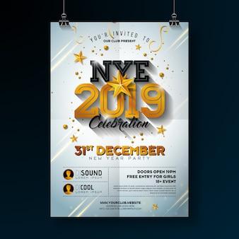 Ilustração de cartaz de comemoração de festa de ano novo de 2019