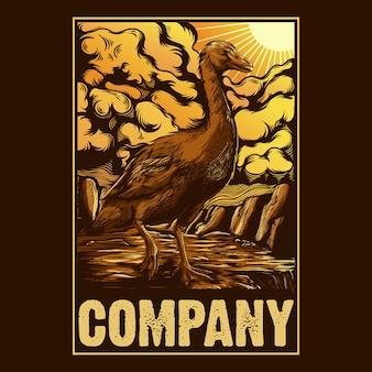 Ilustração de cartaz de estilo de pato