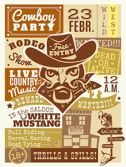Ilustração de cartaz de vaqueiro