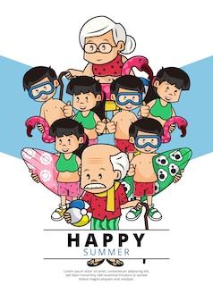 Ilustração de cartaz feliz verão com pessoas vestindo traje de praia verão com atividades diferentes