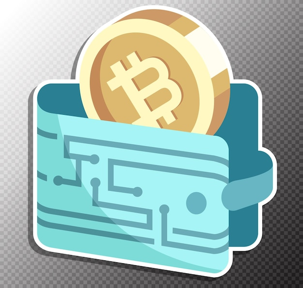 Ilustração de carteira bitcoin em estilo simples