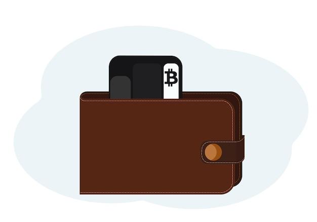 Ilustração de carteira com cartões de plástico com símbolos bitcoin