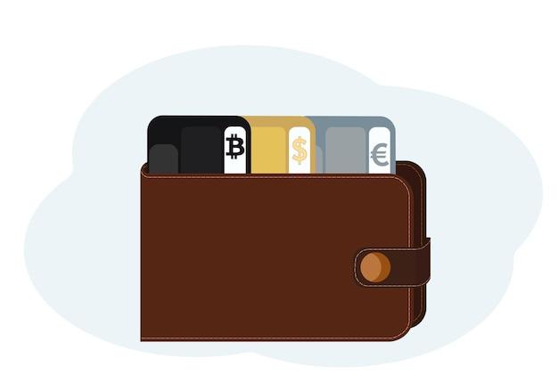 Ilustração de carteira com cartões de plástico com símbolos de bitcoin, dólar e euro
