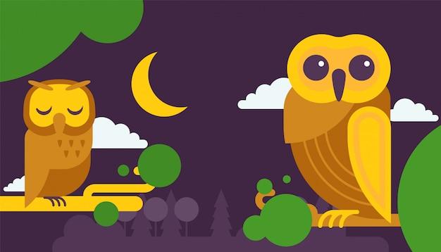 Ilustração de cartões de aniversário de coruja.